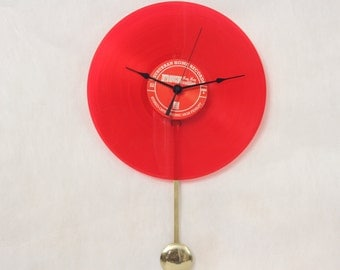 Upcycled Red Vinyl Record Disc Clock, Record, Wall Clock with Pendulum, Handmade, Geekery, Clocks by DanO