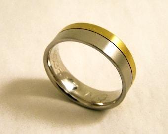Vintage Silver Band Ring, Silver Band Ring, Silver and Gold Ring, Sterling Silver Ring,  Size V 1/2, Size 11