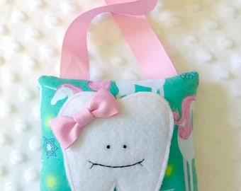 Unicorn Tooth Fairy Pillow, Girl's Gift, Kid's Birthday Gift, Easter Basket Toy, Stocking Stuffer, Gift Under 10, Girls Birthday Gift