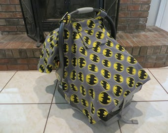 Batman Car Seat Cover with Peek-A-Boo Window and Diaper Changing Kit