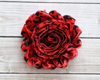 Red black damask shabby chic rosette hair clip frayed chiffon flower clip