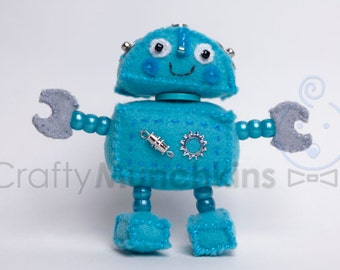 Cute Blue Plush Felt Robot