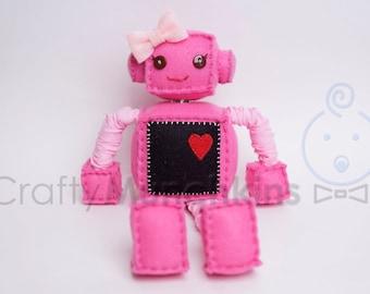 Cute Pink Plush Felt Robot