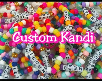 10 Piece Custom Kandi Bracelet Set  - Choose Your Own Colors & Words