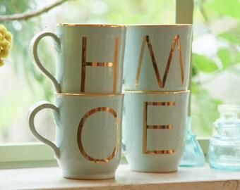 Personalized Initial Mugs Set of 4, Personalized Mugs, Customized Mugs, Monogram Mug, His and Hers mugs