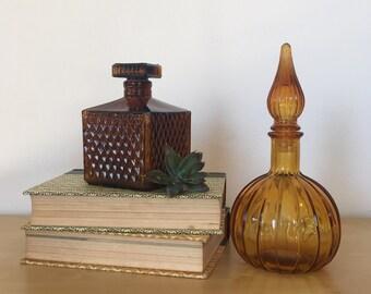 Amber or Orange Glass Decanter