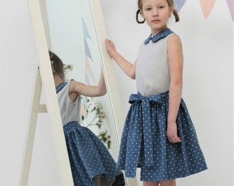 Girls clothes Girls skirt Natural linen apron skirt Girls apron Toddler girl skirt Natural striped skirt Wedding party outfit Birthday party