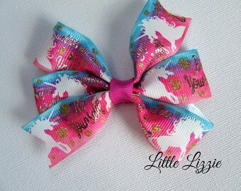 Unicorn bow clip, unicorn pinwheel clips, ombre, pink and blue