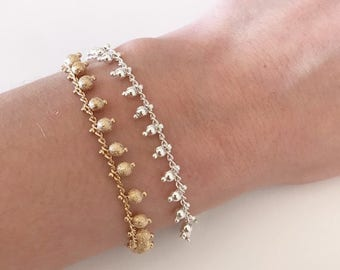 Delicate beaded chain bracelet, Silver or Gold