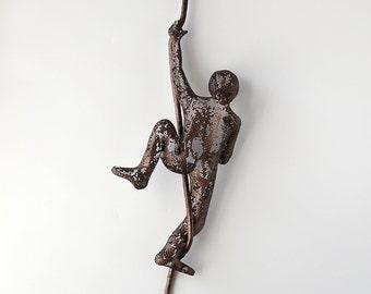 Modern metal art, Climbing man sculpture, sports wall decor, rock climbing, metal wall art