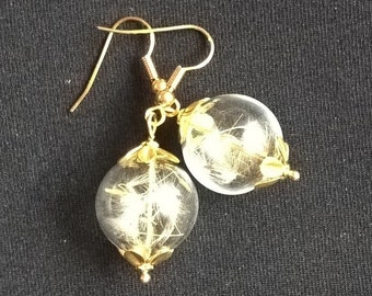 Gold and Brass Dandelion Seed Orb Hand Blown Glass Dangle Send a Wish Earrings