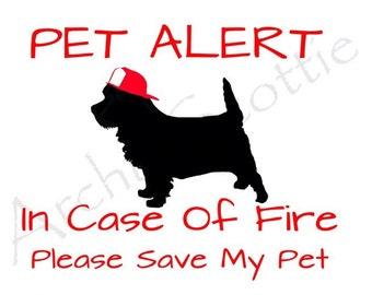 Cairn terrier Dog PET ALERT Vinyl stickers/Decals