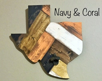 Distressed Wooden Texas in Navy and Coral, Texas Wall Hanging, Man Cave Must Have