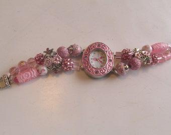 Awareness Watch, Pink Ribbon Beaded Watch