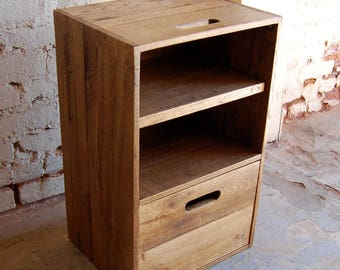 Wooden Crate/ Nightstand/ Side Table/ Drawer/ Reclaim Wood/ Pallet Furniture