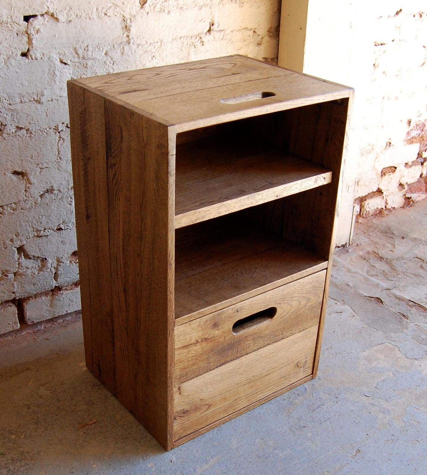 Wooden Crate Nightstand Side Table Drawer Reclaim Wood Pallet