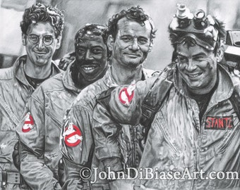 """Egon, Winston Peter and Ray """"Marshmallow Heroes"""" Ghostbusters Drawing Print"""