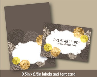 Editable PDF Printable - Sweet Yellow Blooms  Label / Sticker / Tent Card - DIY - Yellow Charcoal Gray Flowers - Instant Downloads