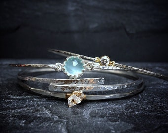 BIRTHSTONE Set of Bangle Bracelets / Custom Gemstone Bangles / TriColor Bangles / Gift for Wife or Mom / Stacking Gemstone Bangles
