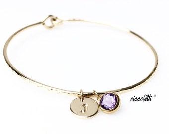 Genuine Amethyst Bracelet / Personalized Gold Bangle / February Birthstone / Gift for Her / Mom Jewelry / Dark Purple Gemstone Bangle