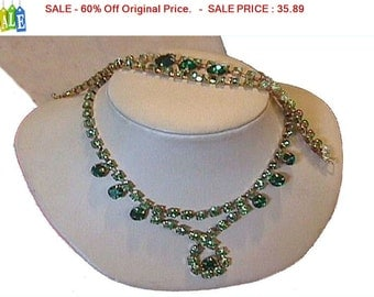 SALE - 60% Off Original Price.   Vintage Peridot Green Rhinestone Necklace and Bracelet Set