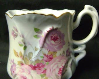Victorian Tea/Mustache Cup, Pale Blue with Roses, Marked Nippon