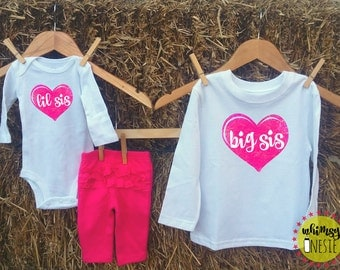 Matching sister shirts Whimsy Onesie big sis sister lil sis little sister heart pink cute gender reveal pregnancy announcement baby shower