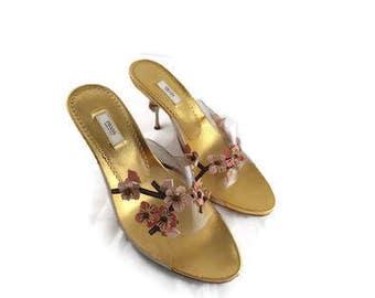 Vintage PRADA heels shoes Italy Vero Cuoid Flowers Floral size 7 US 37.5