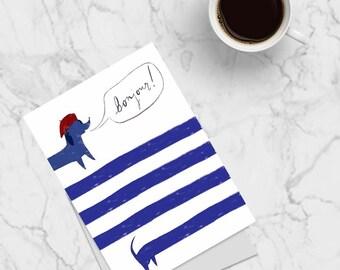 Bonjour Sausage Dog Greeting Card