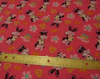 Pink Minnie Mouse Sweet/Smart/Super Cool Cotton Fabric By the Yard