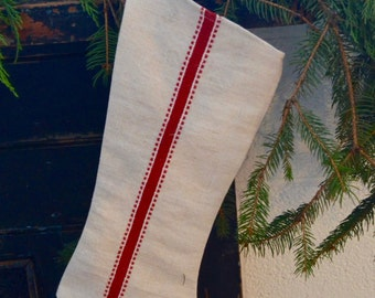 Vintage European Grain Sack Red Stripe Stocking