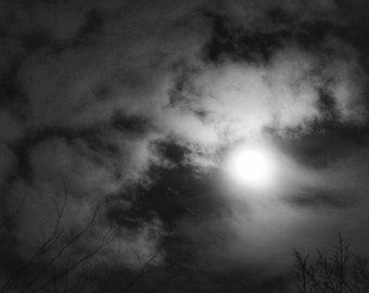 Black and White Full Moon Photo, Moon Clouds Picture, Full Moon Picture, Moon Picture, Moon Trees Print, Full Moon Print, Moon Clouds Print