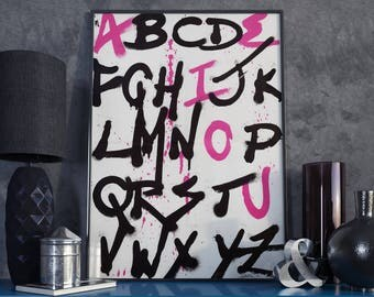Graffiti Alphabet Screenprint - Street Art Silkscreen Poster - A2 (42cm x 59cm) Limited Edition - Perfect for Man Cave or Teenager Bedroom