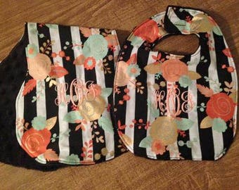 Floral Stripe Bib & Burp Rag Baby Set