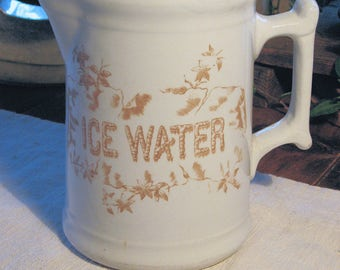 "Antique Jug Ironstone Transferware 'ICE WATER"" Pitcher circa 1880"