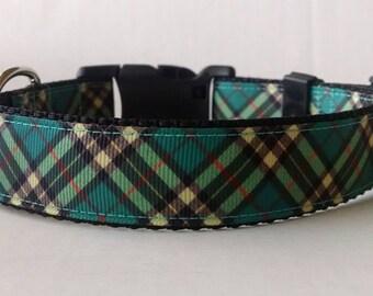 Plaid Dog Collar - Adjustable Dog Collar - Teal and Black Plaid