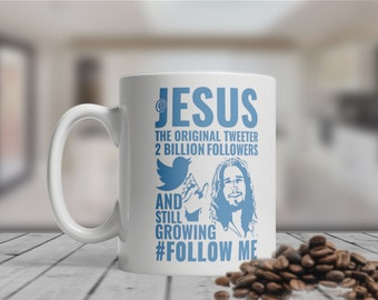 Jesus Twitter Mug, Funny, Quirky, Bespoke, Motivational, Graphic Art, Contemporary, Coffee Mug.
