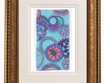 Original Illustration on Handmade Paper, Cosmic Circles, Deckled Edge, Zentangle, Orbs, Yoga Art, Meditation, Tina Ames, Float,Cosmic Doodle