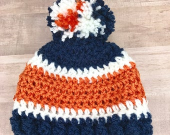 Newborn baby hat, Detroit tigers hat, crochet baby hat, baby boy hat, baby girl hat