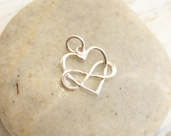 Sterling Silver Infinity Heart Charm...  1 piece - pendant