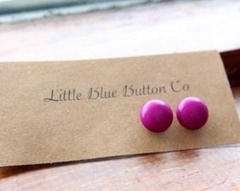 Push Pink Button Earrings
