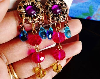 Purple Zing / Gypsy bohemian long dangler earrings with glass crystals and vintage button / purple blue and orange chandeliers