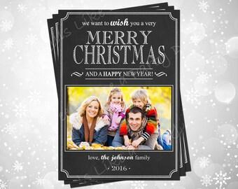 Custom Chalkboard Christmas Card with Photo