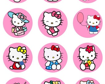 Hello Kitty cupcake toppers or stickers favor tags digital download 2 inch circles collage pdf instant printable labels 22807