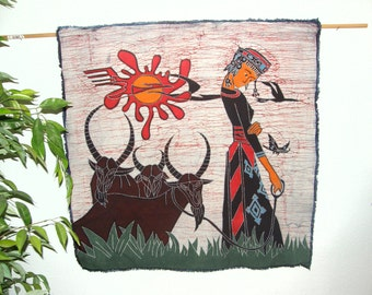 Vintage Chinese Batik - Made into a wall hanging -- Chinese Maiden with 3 water buffalo - Batik Made in Guizhou Province