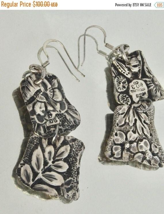 SALE 40% OFF Antique Victorian Solid Sterling Silver Earrings 925 Art Nouveau Floral Bouquet .925 Floral Drop Dangle Spoon Ring Repousse Han