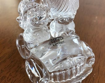 Vintage Precious Moments Wishing You Road Of Happiness Crystal Figurine Wedding Cake Topper Gift Topper