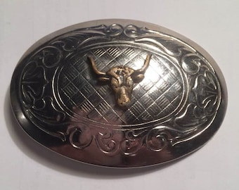 "Western Brass and Silver Tone Belt Buckle Featuring a Bull Head, for a Slim 1.25"" Belt"