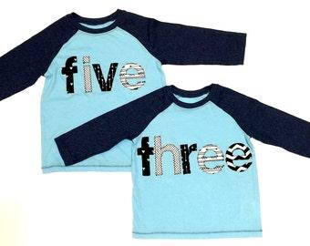 Third Birthday//Three//Fifth Birthday//Five// Birthday Shirts//Ready To Ship