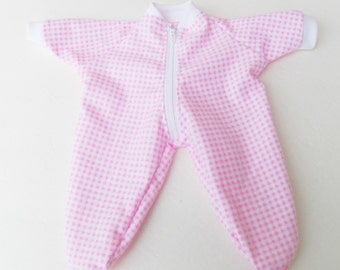"""bitty baby clothes, doll girl or 15"""" twin, pajamas pjs sleeper, pink white gingham, flannel, handmade adorabledolldesigns, zip up feetie"""
